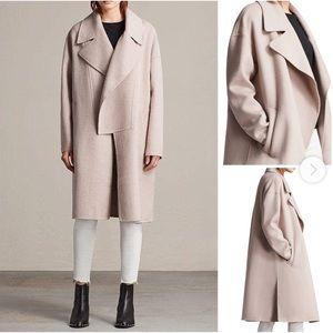 All Saints Ryder dusty pink draped coat jacket